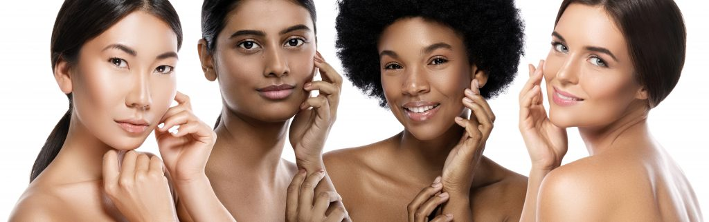 Multiple ethnicities with beautiful skin. Dermaplaning benefits, side effects, and kits to perform dermaplaning at home. #skincare #skincareproducts #skincarereview #dryskin #acneprone #oilyskin