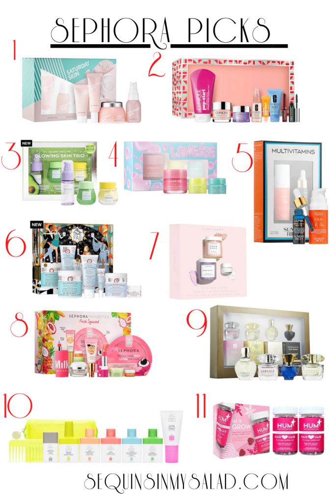 the best holiday gift sets from the Sephora sale. These skincare finds are perfect for travel. And costing less than $50 makes them a great value. #skincareroutine #skincareproducts #giftset #makeupminis #travelsizeproducts #sephoramusthaves