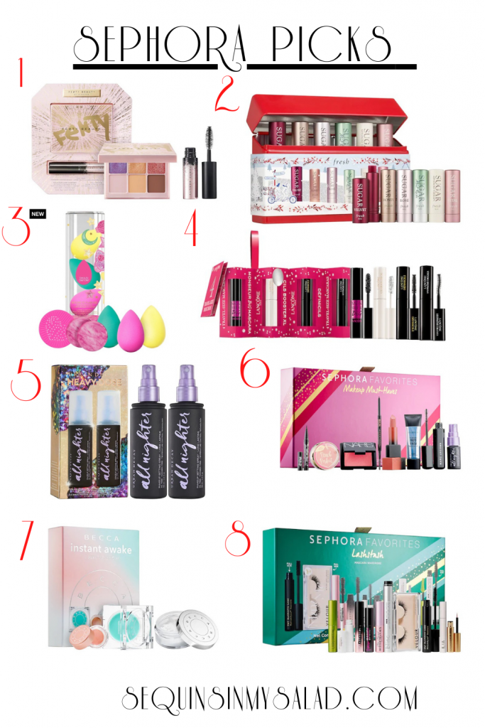 the best holiday gift sets from the Sephora sale. These makeup finds are perfect for travel. And costing less than $50 makes them a great value. #sephoramusthaves #sephoramakeup #giftset #makeupminis #mascara #lipstick #eyeshadow #eyelashes